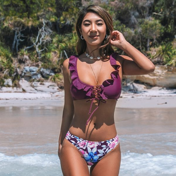 Bikini Purple Ruffles and Floral Print  4