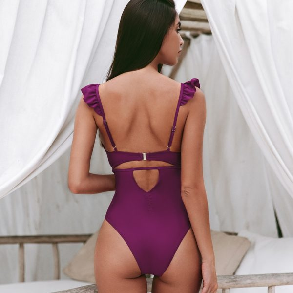 CUPSHE Solid Claret Ruffles V-neck One-Piece Swimsuit Sexy Cut Out Padded Cups Women Monokini 2021 Beach Bathing Suit Swimwear 14
