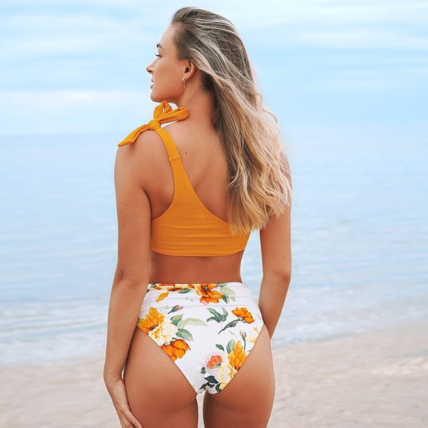 Bikini Orange and Floral One-shoulder High-waisted 5