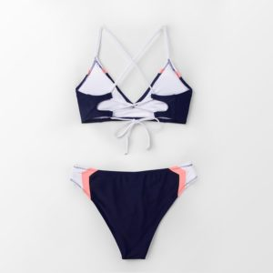 CUPSHE Navy Sport Lace-Up Bikini Sets Women Sexy Colorblock Two Pieces Swimsuits 2021 Girl Beach Bathing Suits Swimwear 15