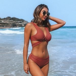 Bikini   Burnt Orange Stylish O-Ring  5