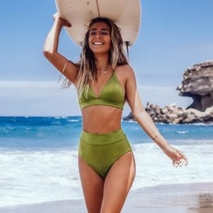 Bikini Lime Green Textured High-Waisted Triangle  4