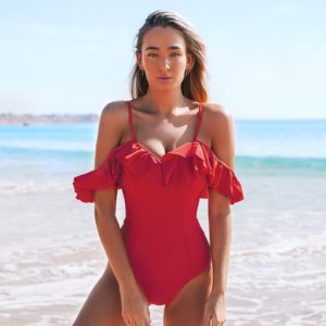 Monokini Solid Red Off-The-Shoulder Ruffles  4