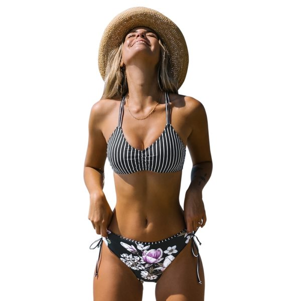 Bikini Black Stripe Floral Low Waist  41