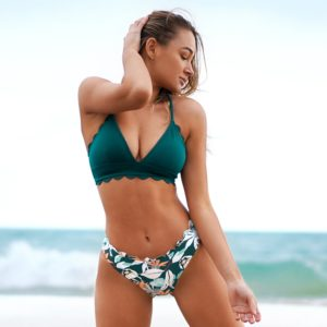 Bikini Green Scalloped Edge Printed Bottom  4