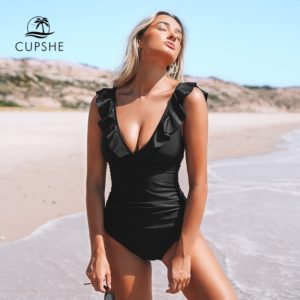 Monokini Black Ruffled 1