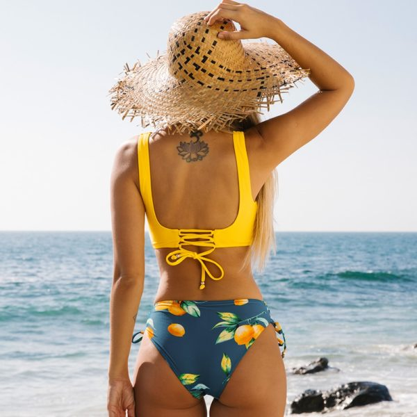 Bikini Yellow And Lemon Print Mid-Waist  7