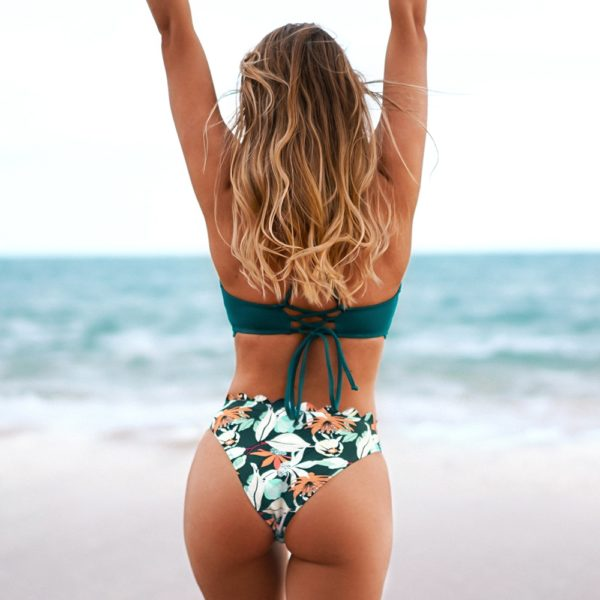 Bikini Green Scalloped Edge Printed Bottom  5