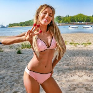 Bikikini Pink Crochet Trim Low-waist  6
