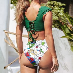 Bikini  Green and Floral High-waist  5