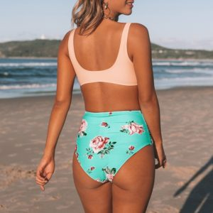 Bikini  Pink And Green Floral High-waisted  9