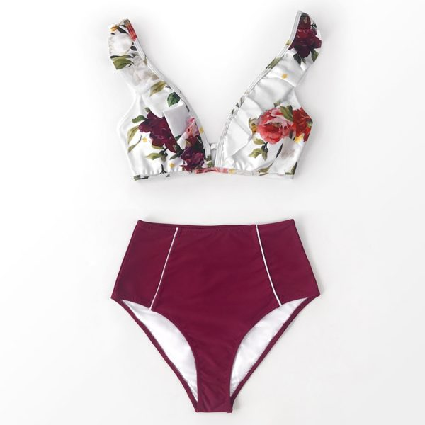 Bikini Floral Red High-waisted 14