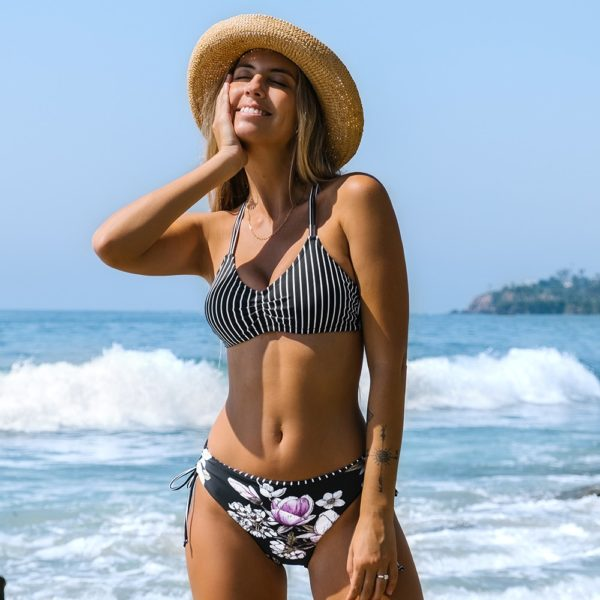 Bikini Black Stripe Floral Low Waist  10