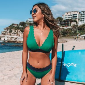 Bikini Top Green and Navy  8