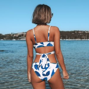 Bikini Blue Leaves Print Lace Up Low-waist 12