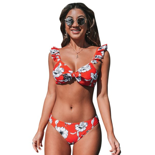 Bikini Red Floral Knotted Ruffled  10