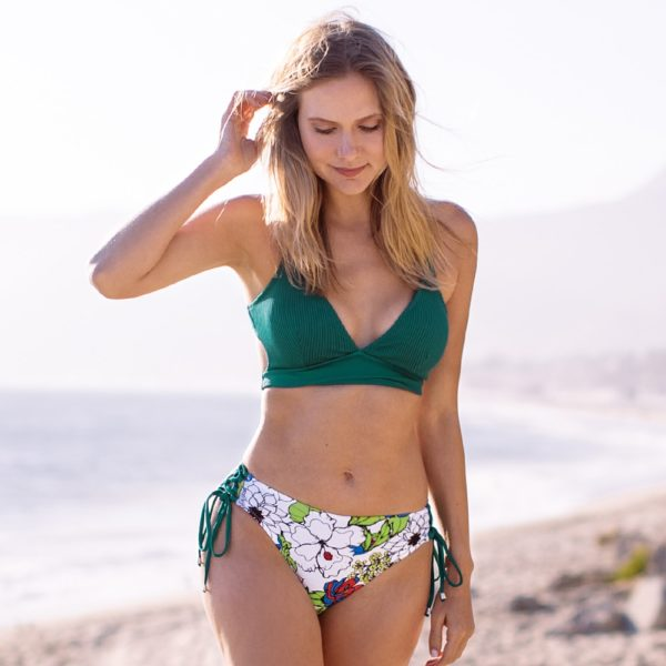 Bikini Sexy Green And Floral Lace-Up  5