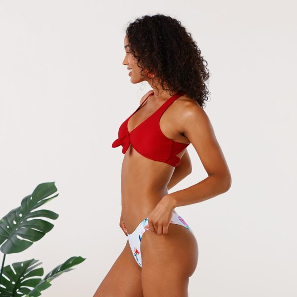 Bikini  Red Knotted Floral Low Waist  9