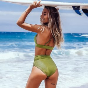 Bikini Lime Green Textured High-Waisted Triangle  5