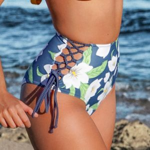 Bikini bottom Blue Floral Lace Up 5