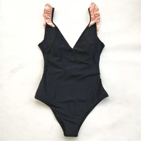 Monokini Black With Pink Ruffle  9