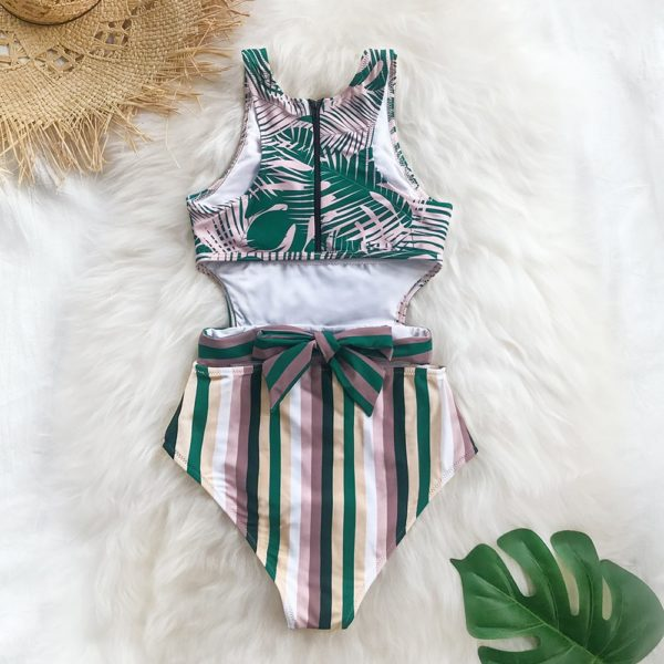CUPSHE Palms And Stripes One-Piece Swimsuit Women Sexy Lace Up Tank Top Cut Out Monokini 2021 Girls Beach Bathing Suit Swimwear 15