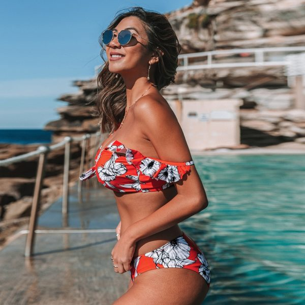 Bikini Red Floral Knotted Ruffled  5