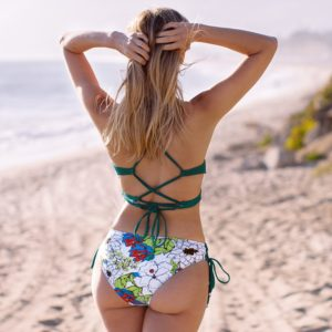 Bikini Sexy Green And Floral Lace-Up  6