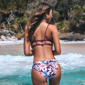 Bikini Purple Ruffles and Floral Print  5