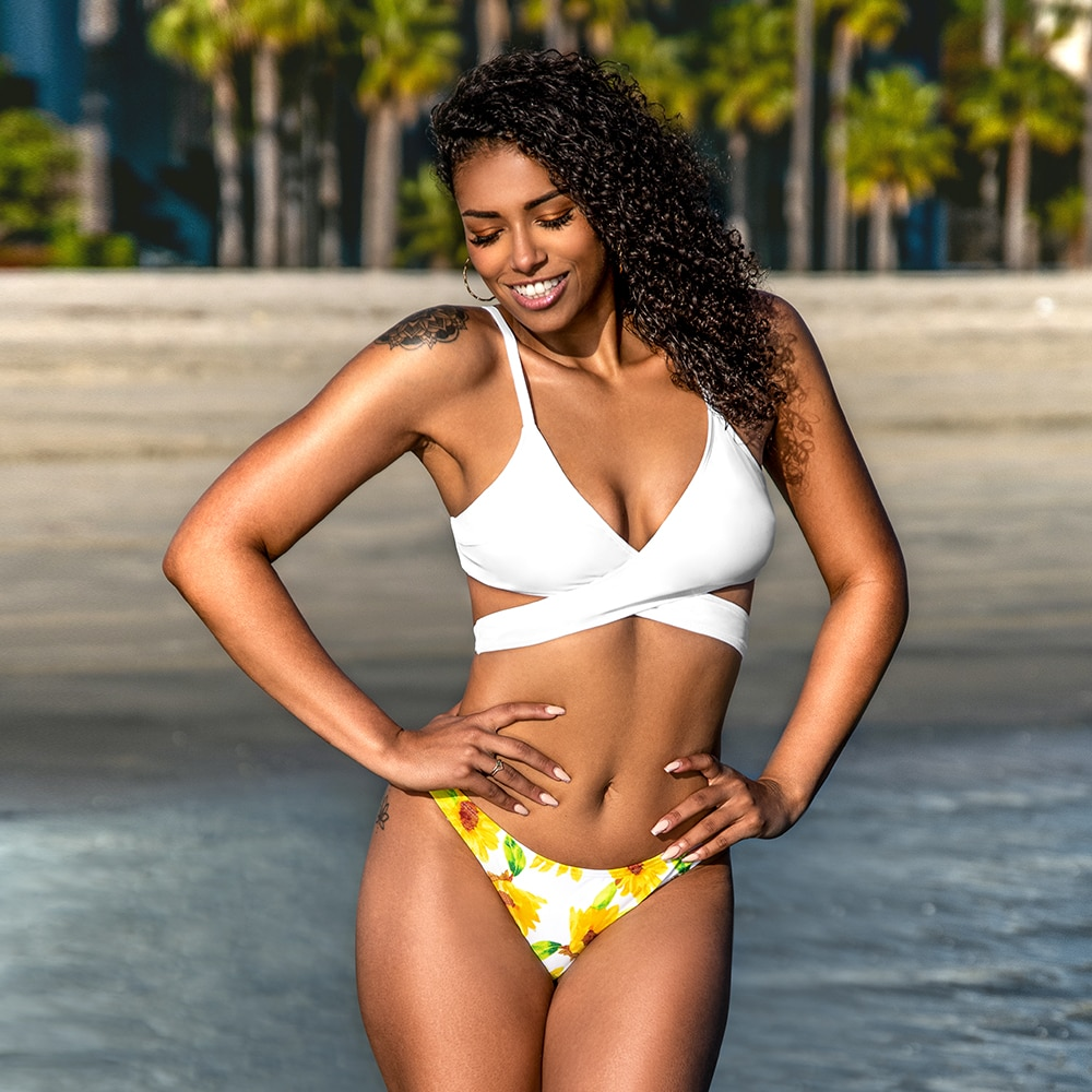 Bikini  Wrap Self-tie White Sunflower  4