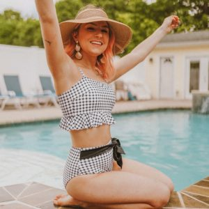 Bikini Black And White Gingham Ruffles  5