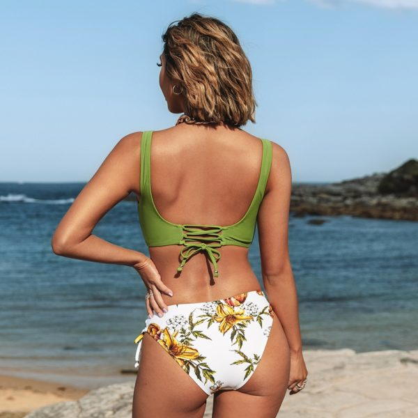 Bikini Yellow And Lemon Print Mid-Waist  11