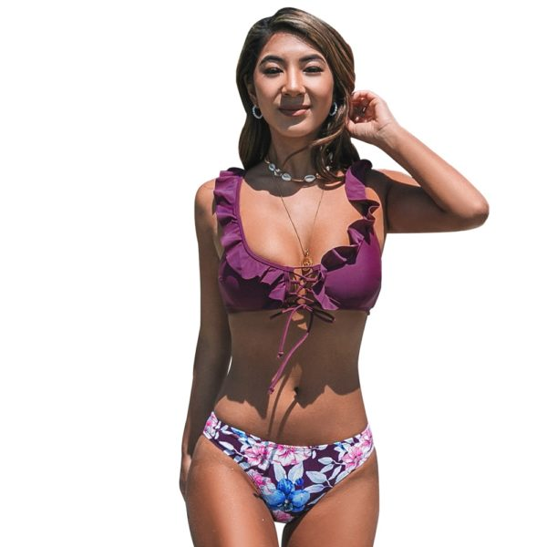 Bikini Purple Ruffles and Floral Print  6