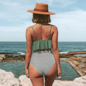 Bikini  Olive Stripe Falbala High Waisted 10