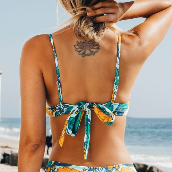 Bikini top Floral  Women Sexy Lace Up 5
