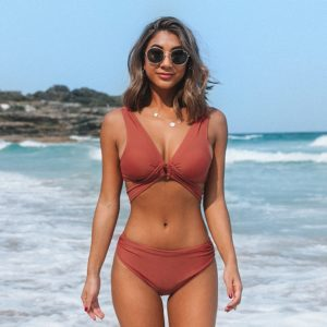 Bikini   Burnt Orange Stylish O-Ring  4