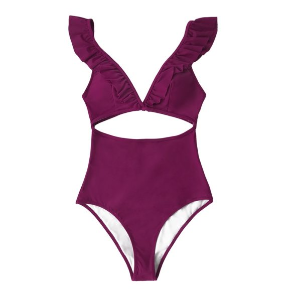 CUPSHE Solid Claret Ruffles V-neck One-Piece Swimsuit Sexy Cut Out Padded Cups Women Monokini 2021 Beach Bathing Suit Swimwear 19