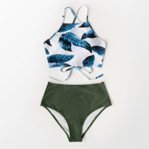 Bikini Blue Leaf and Green High-waist 4