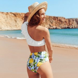 Bikini White and Lemon One Shoulder 5
