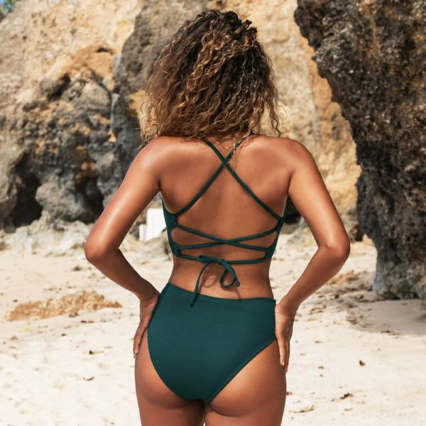 Bikini Solid Green Lace Up  8