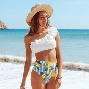 Bikini White and Lemon One Shoulder 4