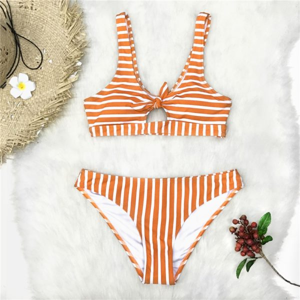 Bikini  Orange And White Stripe Bowknot 6