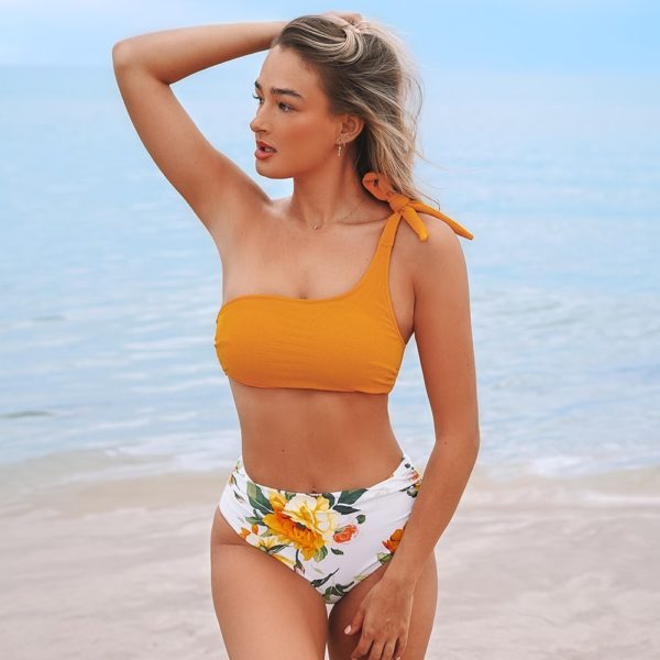 Bikini Orange and Floral One-shoulder High-waisted 4