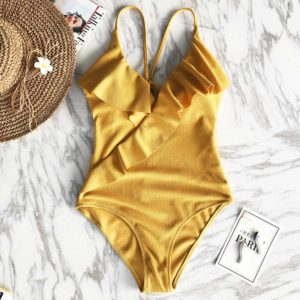 Monokini Happy Ending Yellow Solid  14