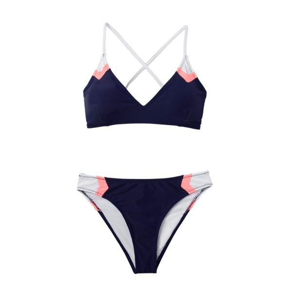 CUPSHE Navy Sport Lace-Up Bikini Sets Women Sexy Colorblock Two Pieces Swimsuits 2021 Girl Beach Bathing Suits Swimwear 18