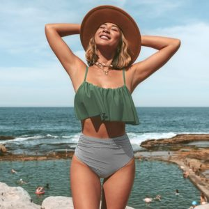 Bikini  Olive Stripe Falbala High Waisted 9